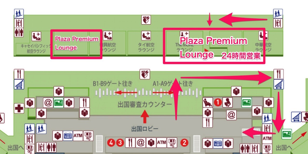 Taoyuan airport lounge map