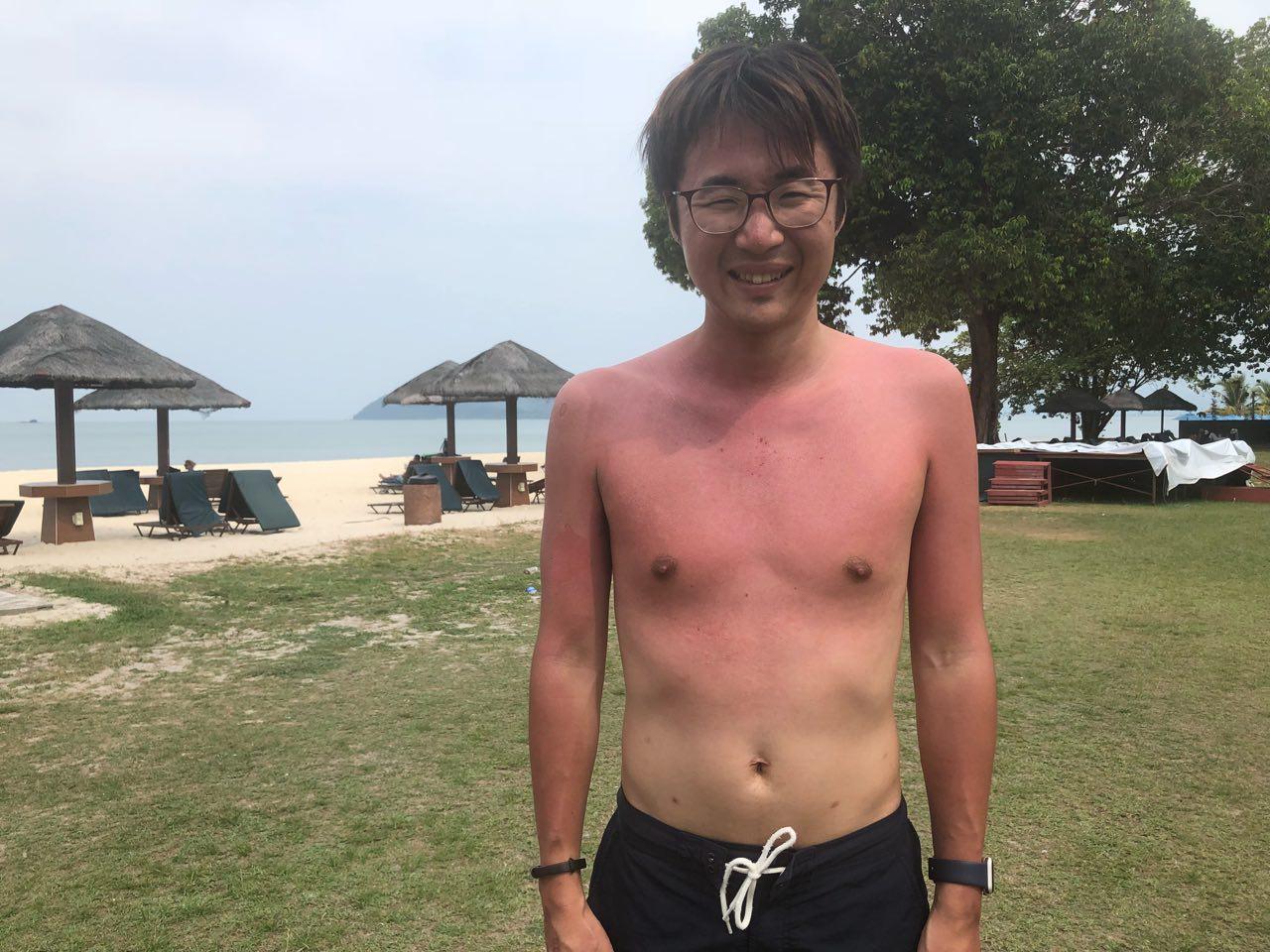 日焼けした男性