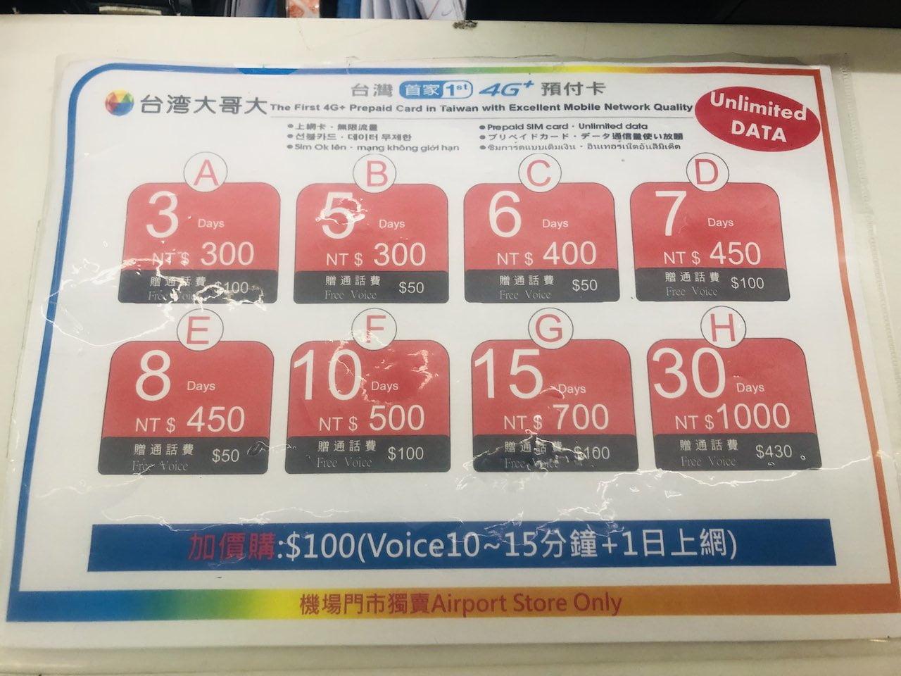 Taiwan airpor prepaids sim 0002