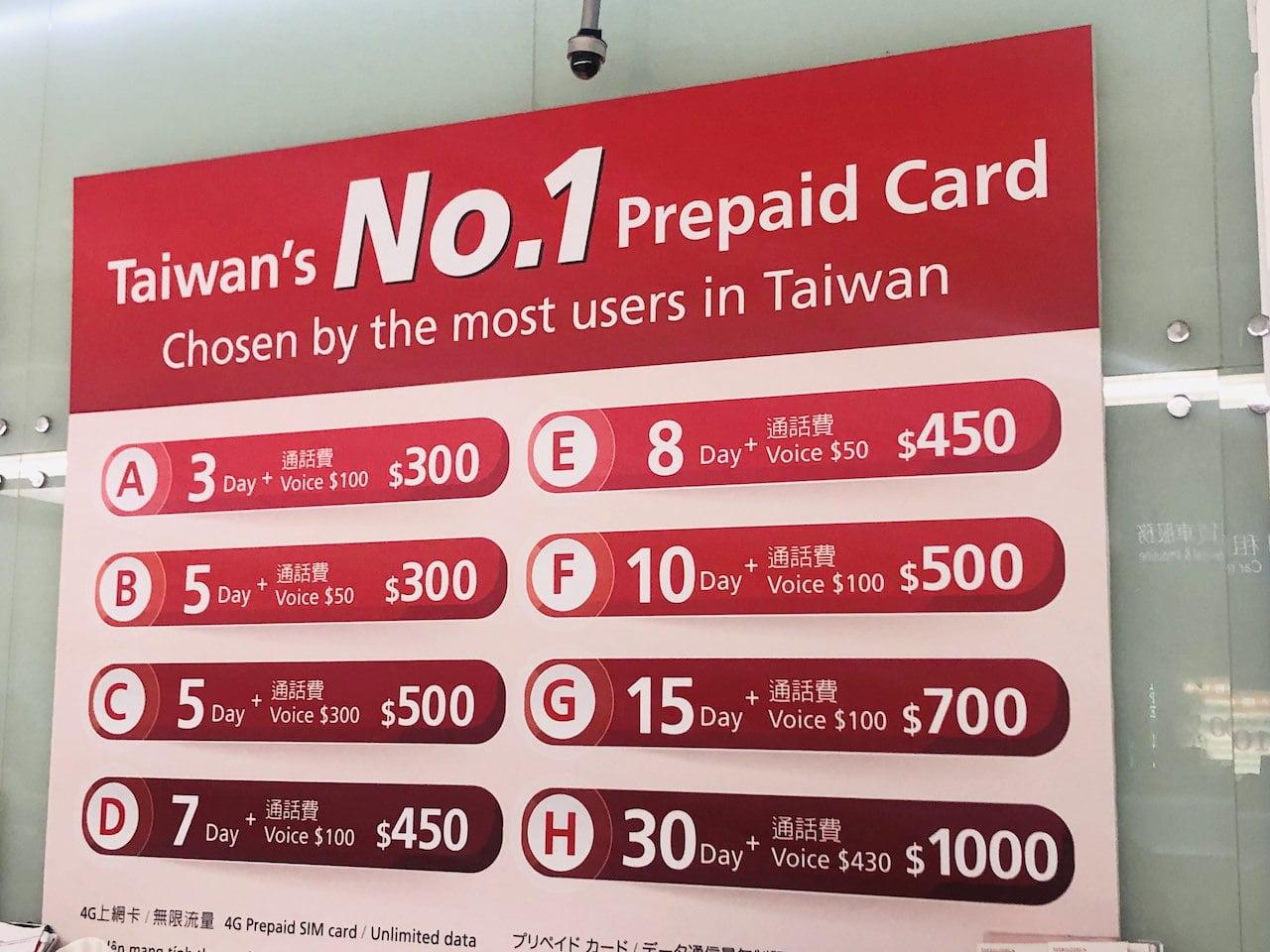 Taiwan airpor prepaids sim 0003