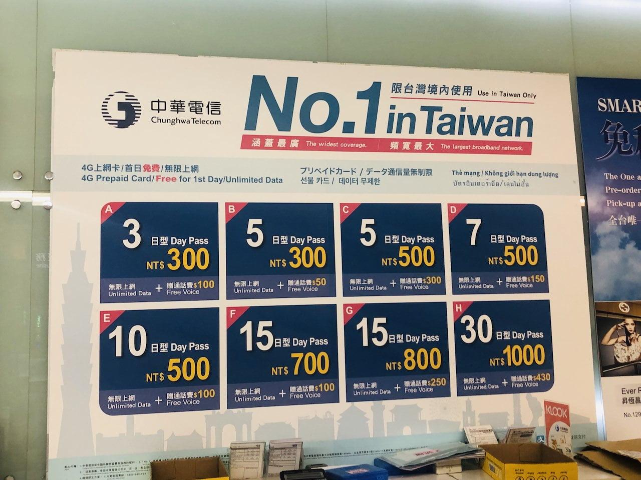 Taiwan airpor prepaids sim 0011