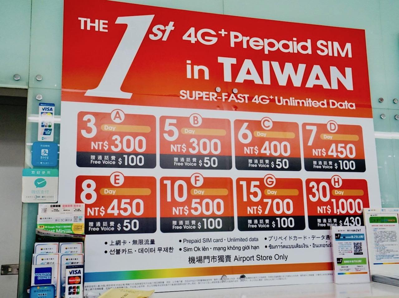 桃園空港第1ターミナルのプリペイドSIMカード売り場 台湾大哥大の価格表