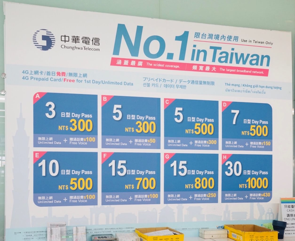 桃園空港第1ターミナルのプリペイドSIMカード売り場 中華電信の価格表