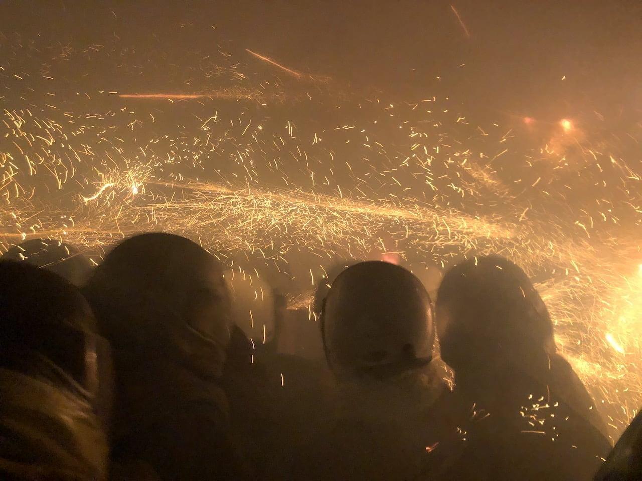 2020年の鹽水蜂炮(塩水ロケット花火祭り)のメイン会場