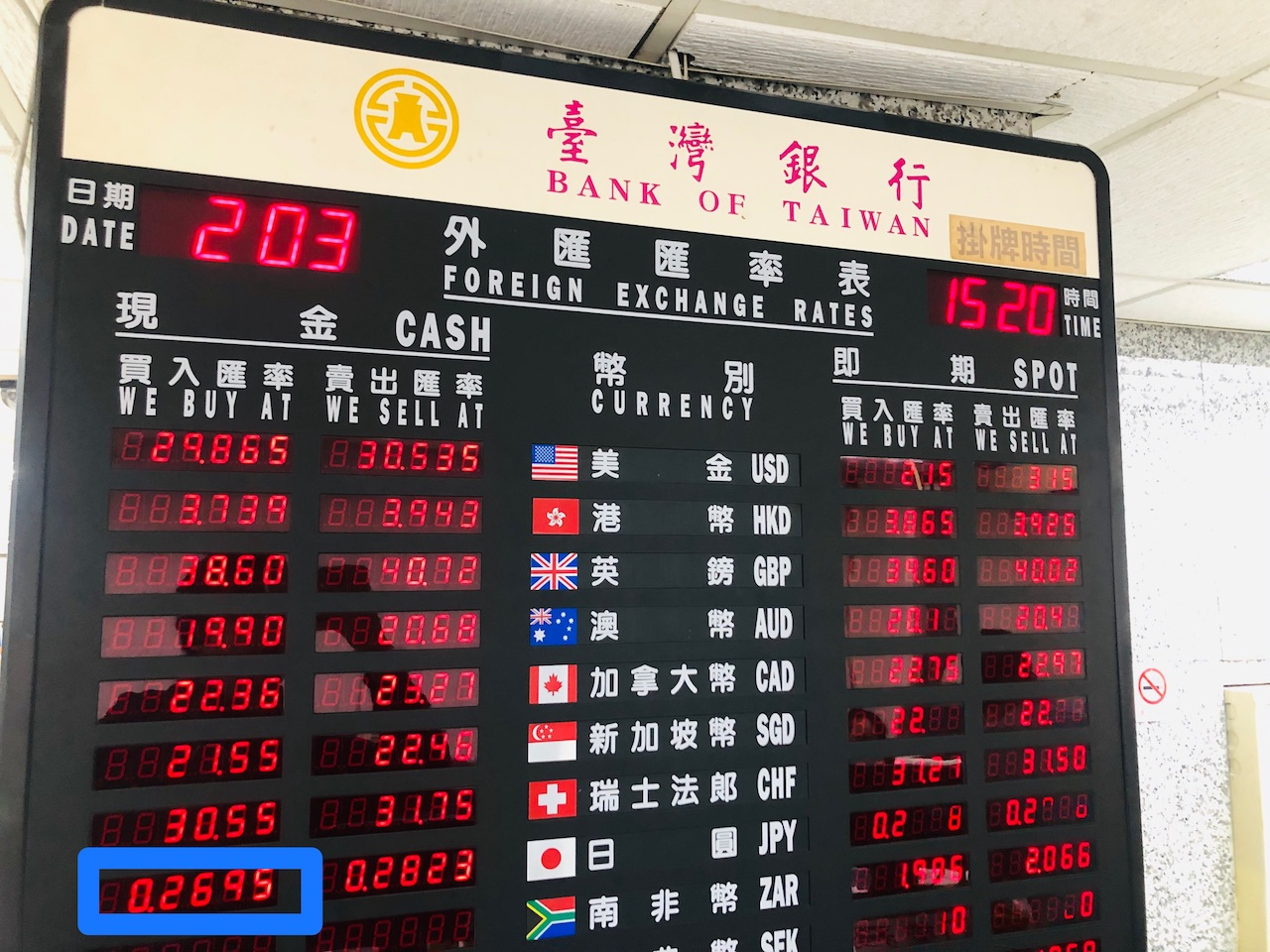 台湾銀行の両替レート(日本円)