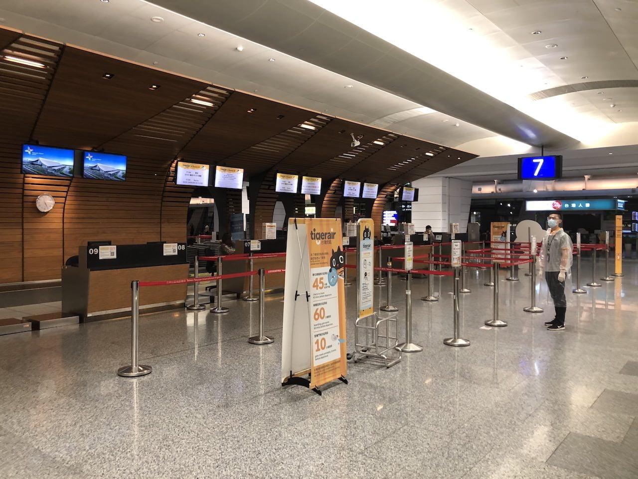 コロナウイルス下の桃園空港第二ターミナル
